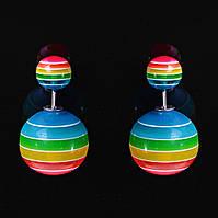 """[15/8 мм] Cерьги пусеты шары """"матрешка"""" Dior разноцветная полоска луга"""