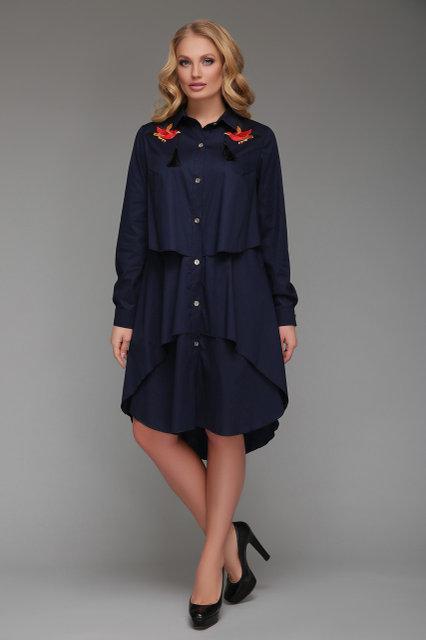 Женское платье-рубашка Троя синего цвета (52-58)