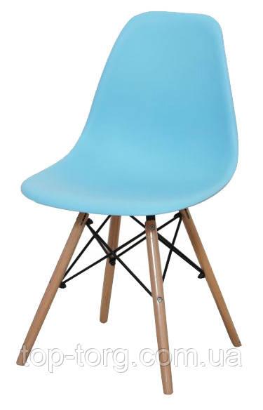 Стілець DS-913 ENZO блакитний, дерев'яні ніжки