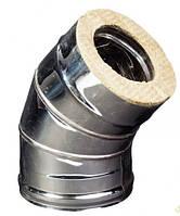Отвод 45 из нержавеющей стали в оцинкованном кожухе, ф100/160