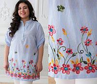 Летняя рубашка с вышивкой, с 54-60 размер, фото 1