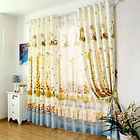 """Тюль в детскую """"Жираф"""" шифон голубой высота 2,9 м, фото 1"""