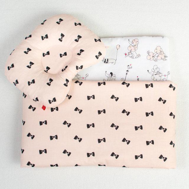 Набор в детскую коляску BabySoon Бантики одеяло 65х75 см подушка 22х26 см цвет пудра