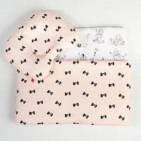 Набор в детскую коляску BabySoon Бантики одеяло 65х75 см подушка 22х26 см цвет пудра, фото 1