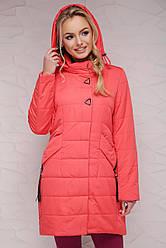 Удлиненная женская демисезонная прямая куртка с капюшоном Коралловая Куртка 17-139