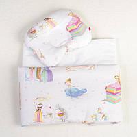 Комплект в коляску димесезонный BabySoon Сказочные принцессы одеяло 65х75 см подушка 22х26 см, фото 1