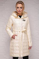 Длинная демисезонная женская куртка-плащ с капюшоном и поясом Бежевая Куртка 18-112