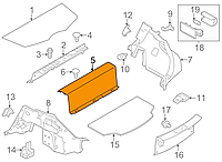 Накладка багажника передняя верхняя серая K - GRAY Nissan Leaf ZE0 (10-13) 84907-3NA0A