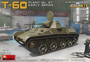 Т-60 советский легкий танк (ранний). Сборная модель с интерьером в масштабе 1/35. MINIART 35224