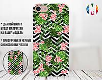 Силиконовый чехол для Apple Iphone 4_4s (Цветы и банановые листья)