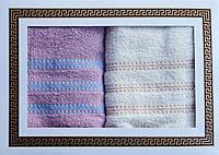 Комплект Наборчик подарочный махровых полотенец для лица 2 шт оптом полосочка в упаковке