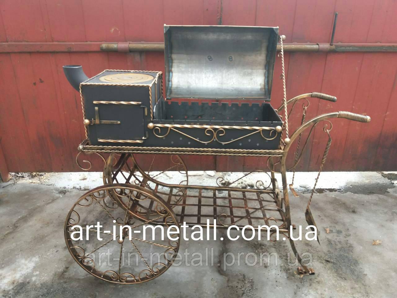 """Мангал на колесах с печью """"Монреаль"""""""