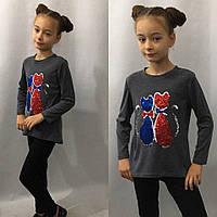 Туника для девочек, ткань джерси , аппликация пайетки (цвет не меняют), рост 122,128,134,140 см