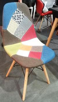 Стул DS-922 разноцветная ткань Patchwork, деревянные ножки