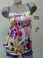 """Женский комплект с шортами """"MARIA"""" цветной арт.7703  размер L"""