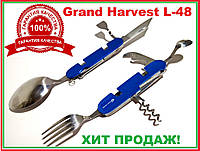 "Нож ""швейцарский"" Мультитул 9 функций 2 Ложки вилка открывалка нож штопор лопатка Grand Harvest L-48"
