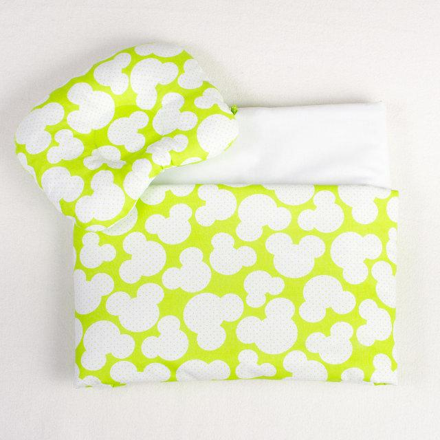 Комплект в коляску BabySoon Яркий Микки одеяло 65х75 см подушка 22х26 см салатовый