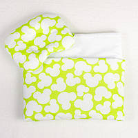 Комплект в коляску BabySoon Яркий Микки одеяло 65х75 см подушка 22х26 см салатовый, фото 1