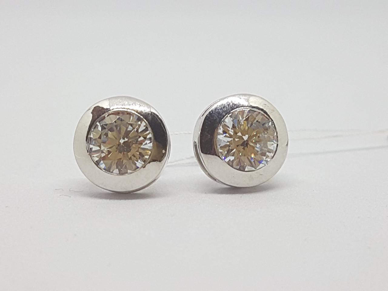 Серебряные пуссеты с фианитами. Артикул 29059р