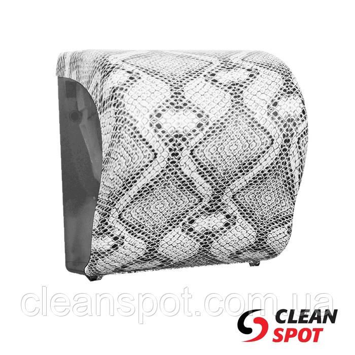 Диспенсер для бумажных полотенец в рулонах отрезающий отрывы Unique 361 белый питон