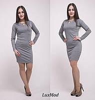 Платье с украшением, серое, фото 1