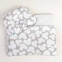 Комплект в коляску BabySoon Серый Микки одеяло 65х75 см подушка 22х26 см серый, фото 1
