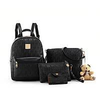 Набор женский - рюкзак, сумочка, косметичка, визитница, брелок мишка (черный), фото 1