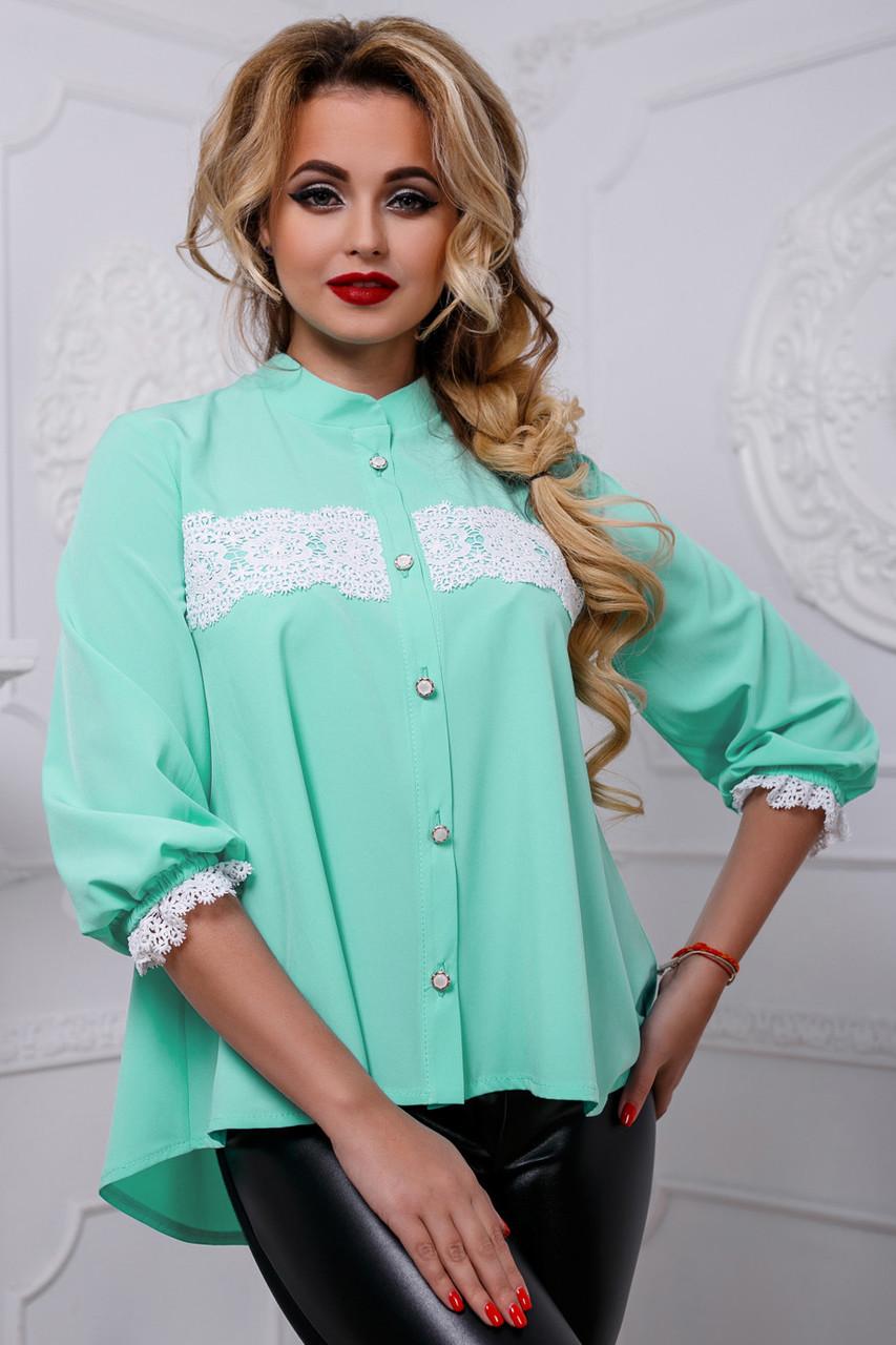 Красивая женская блуза PREMIUM 2587 нежно-мятный