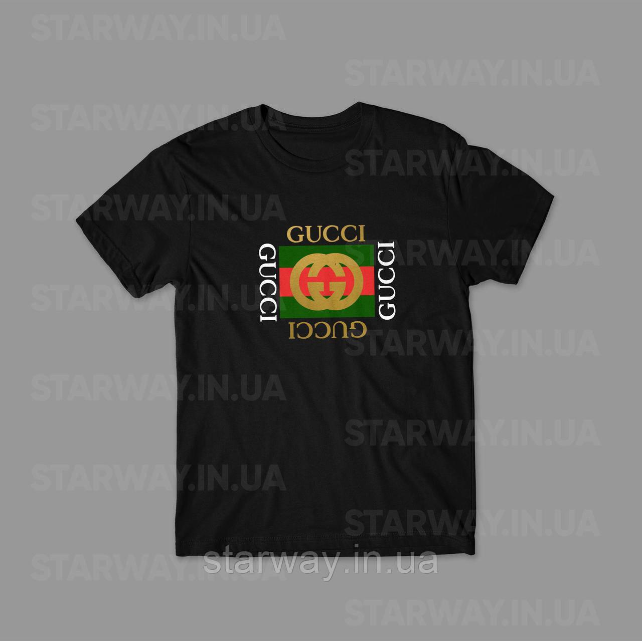Футболка чёрная Gucci x Gucci logo | Премиум бренд