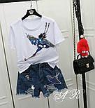 """Женский стильный костюм: белая футболка и джинсовые шорты """"Журавль"""", фото 2"""