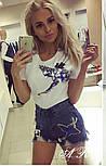 """Женский стильный костюм: белая футболка и джинсовые шорты """"Журавль"""", фото 3"""
