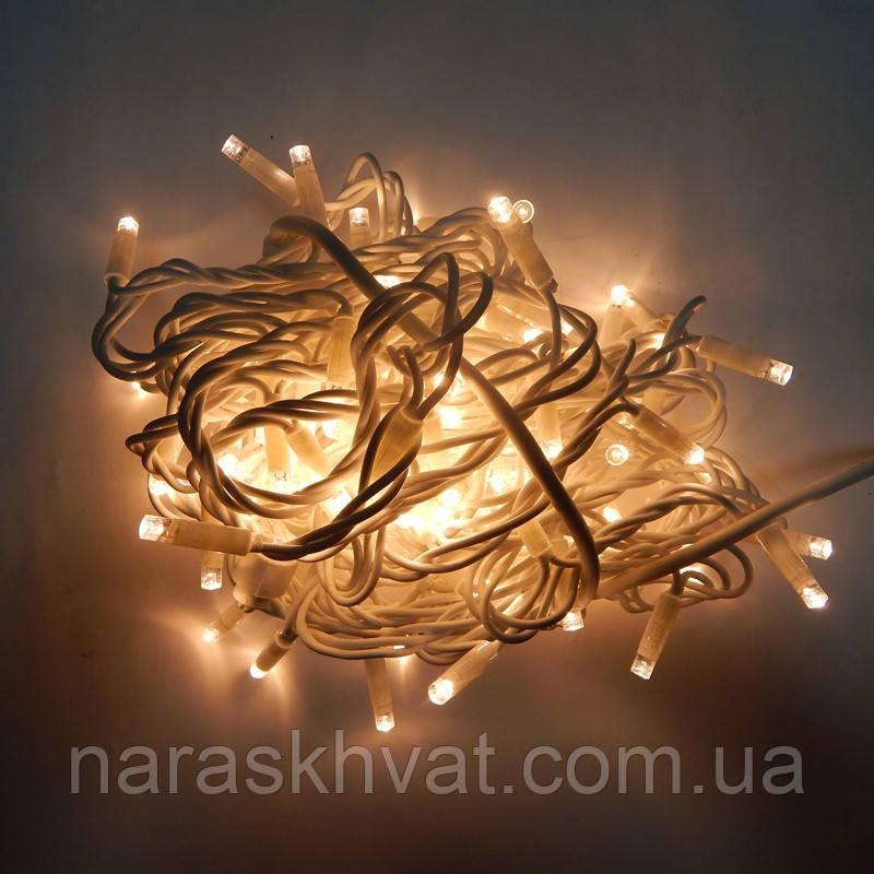 Гирлянда уличная Нить LED 120, тёплый белый, белый провод