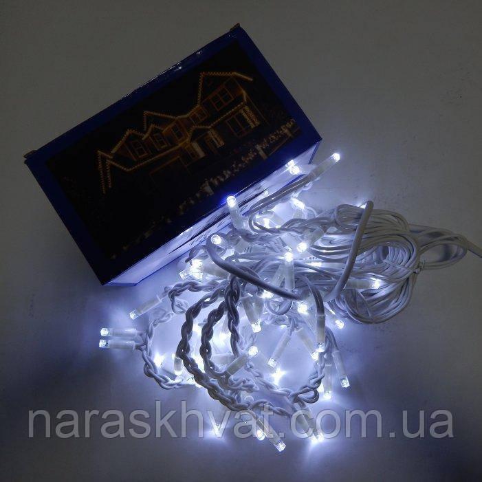 Гирлянда уличная Бахрома  LED 100, холодный белый, белый провод