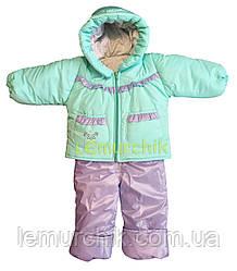 Комбинезон детский на холлофайбере (куртка+полукомбинезон на брителях) 68-74 р-р, Цвет 1