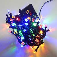 Гирлянда Нить Кристалл LED 100, мульти, чёрный провод (1-32)