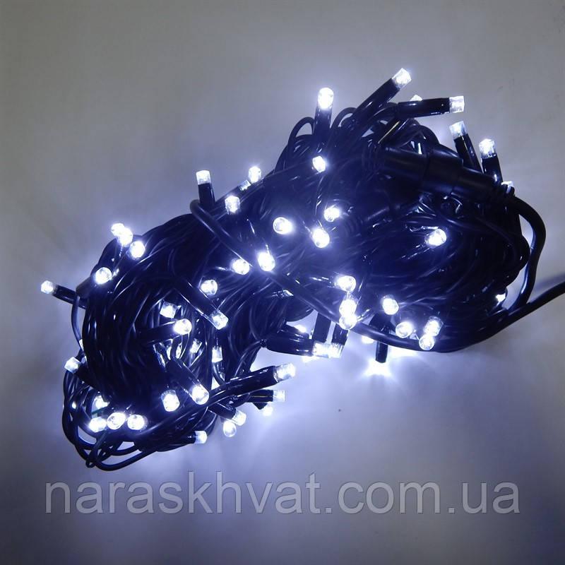 Гирлянда уличная Нить LED 100, холодный белый, чёрный провод