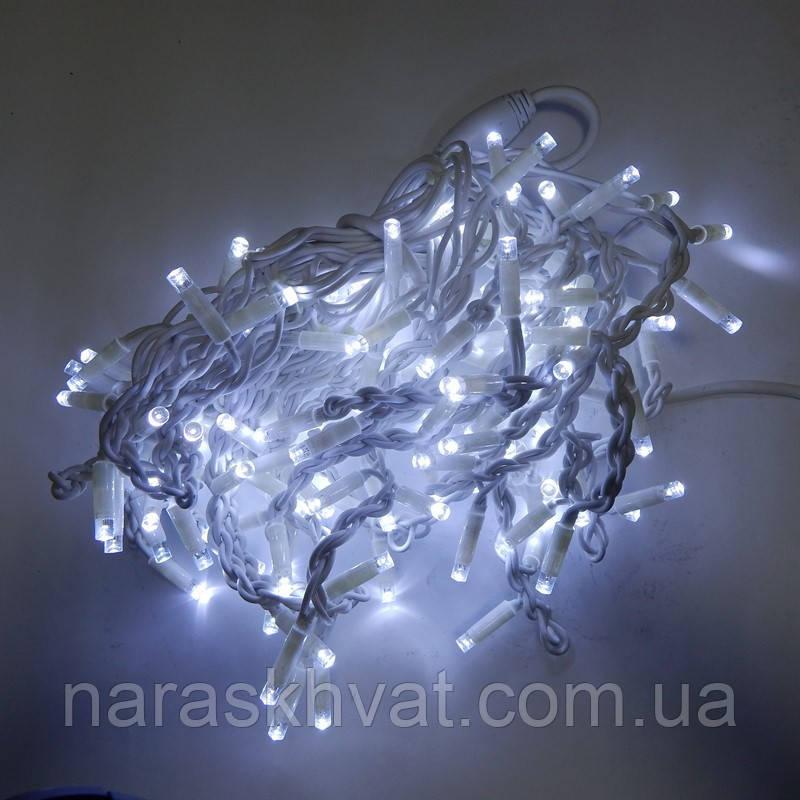 Гирлянда уличная Бахрома LED 160, холодный белый, белый провод