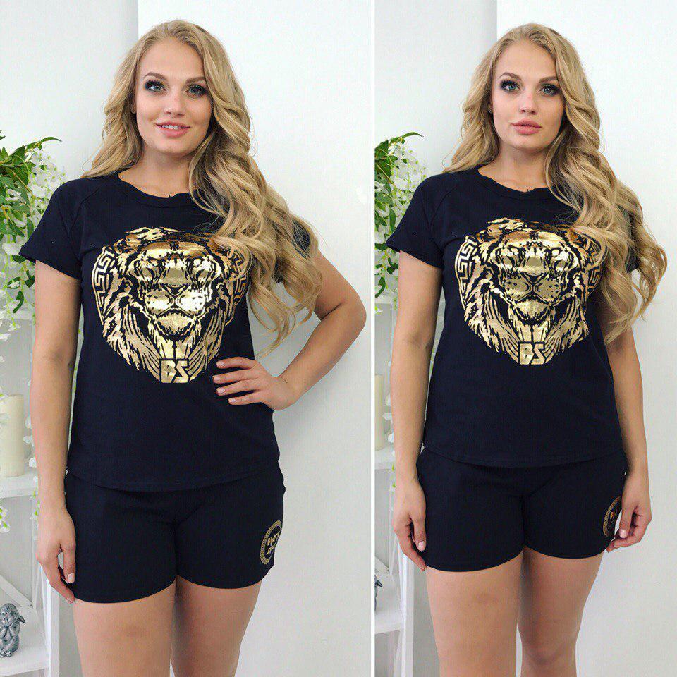 """Летний женский спортивный костюм """"LION"""" с золотым принтом (большие размеры)"""