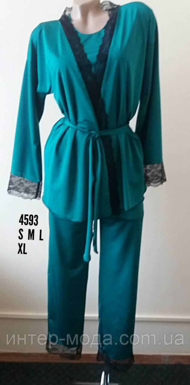 """Женский комплект тройка с брюками """"MARIA"""" морская волна арт.4593  размер XL"""