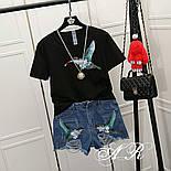 """Женский стильный костюм: белая футболка и джинсовые шорты """"Птица Колибри"""" (2 цвета), фото 3"""