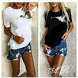 """Женский стильный костюм: белая футболка и джинсовые шорты """"Птица Колибри"""" (2 цвета), фото 2"""
