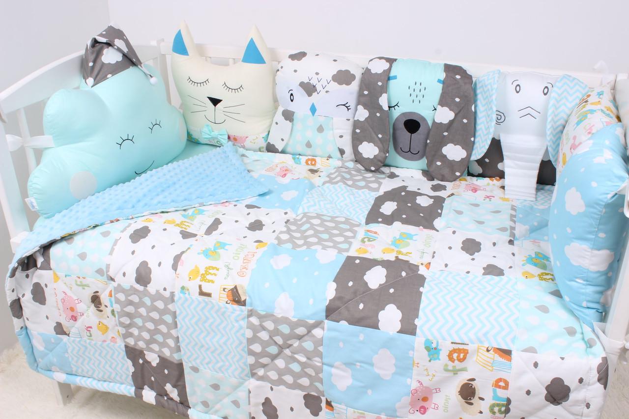 Комплект в кроватку с зверюшками сатин