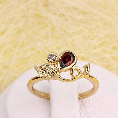 R1-2909 - Позолоченное кольцо с бордовым и прозрачным фианитами, 17.5, 18.5 р