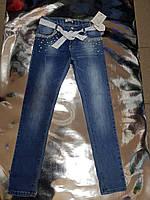 Модные джинсовые брюки для девочек с бусинами и жемчугом  140-170