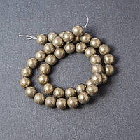 Бусины натуральный камень на нитке Пирит L- 39см d-10мм