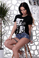 Женская свободная летняя футболка из вискозы 55FU44, фото 1