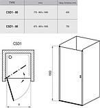 Душові двері RAVAK CSD1-80 satin+Transparent, фото 2