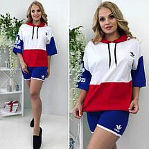 """Летний женский спортивный костюм """"ADS"""" с шортами и капюшоном (большие размеры), фото 2"""