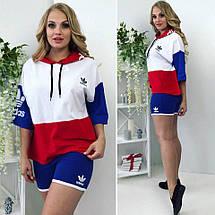"""Летний женский спортивный костюм """"ADS"""" с шортами и капюшоном (большие размеры), фото 3"""
