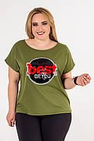Женская футболка батал с рисунком спереди 53BR635